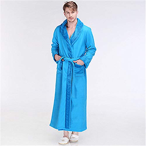 YRTHOR Albornoz de Lana de Franela cálida Gruesa Extra Larga de Invierno para Hombre, Bata de baño Kimono de Lujo para Hombre, Bata de Mujer, Bata Masculina,Sky Blue Men,XL