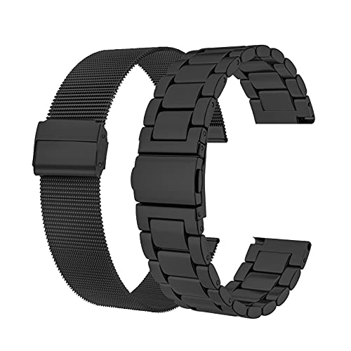SEELOMER 2-Pack Bands Compatible with Samsung Galaxy Active 2 40mm 44mm/Galaxy Watch 3 41mm/Galaxy Watch 42mm,20mm Quick Release Stainless Steel Metal Band + Mesh Loop Bracelet (2PCS Black)