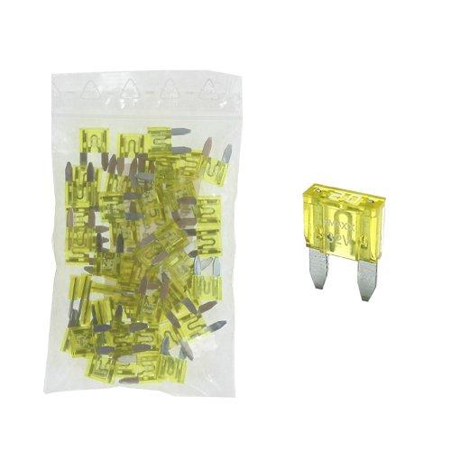 50 Flachstecksicherung Mini-Sicherung 20A / 32V / gelb