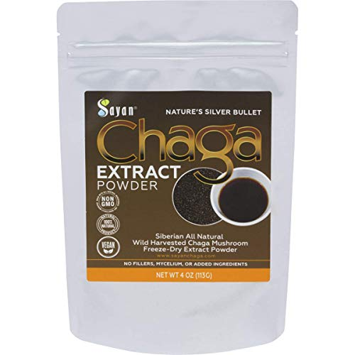 Sayan Siberian Wild Sustainably Harvest Organic Chaga Mushroom Extract Powder 4oz /113g Immune System and Energy Booster, Antioxidant Tea, Promote Digestion, Focus, Clarity. Instant Coffee Mix. Vegan