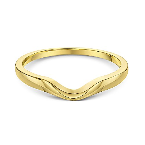 Theia Unisex 9 ct Yellow Gold, Curved Shape Polished Wishbone Stacking Ring,, Size P