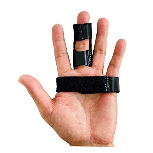 指サポーター ばね指 突き指 腱鞘炎 関節痛 リュウマチ トリプル固定 連結固定 小指 薬指 人差し指 中指 手 固定 サポーター バスケ バレー スポーツ 男女兼用 フリーサイズ (黒)