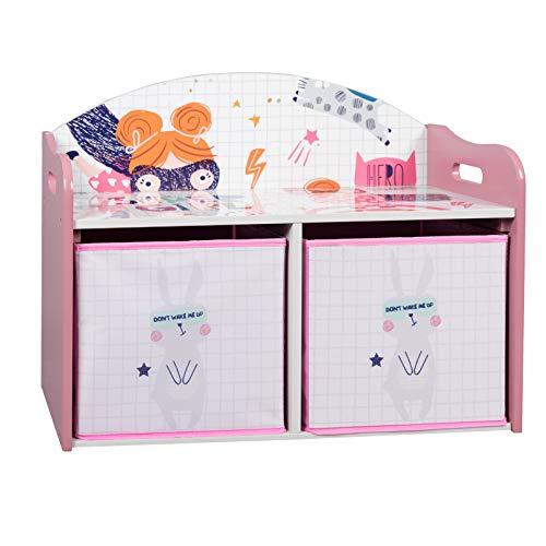 EUGAD 0001ETSJ Kinder Aufbewahrungsregal Spielzeug- und Bücherregal Spielzeugkiste Kinderkommode Kindermöbel mit 2 Kisten aus MDF Rosa