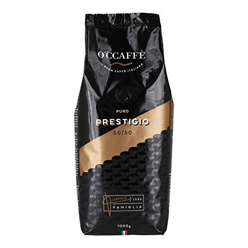 O'ccaffè – Prestigio 50/50 | 1kg ganze Bohnen aus 50% Arabica 50% Robusta | Italienischer Premium Kaffee aus extra langsamer Trommelröstung