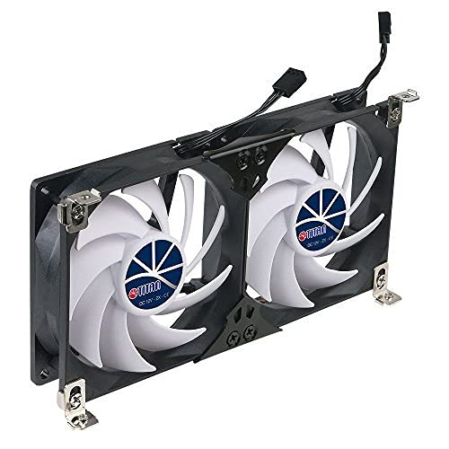 TITAN- 12V DC Double Rack Mount Ventilation Cooling fan for Fridge Vent and Ventilation Grille with Speed Controller (90mm)