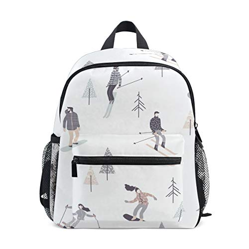 Schneeweißer Schlittschuh Kleinkind Rucksack Kinder Leichtgewicht Büchertasche Vorschule Schülerrucksack für 1-6 Jahre die Reise Mädchen Jungs
