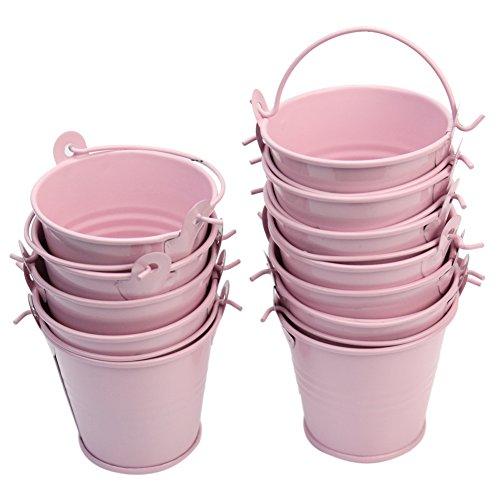 12 x Mini Metall Eimer Dekoeimer Blumeneimer Blumentöpfe pink rosa Gartendeko