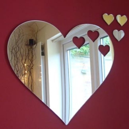 Cool Creations Small Hearts Out of Heart Mirror 12cm X 10cm (5inch x 4inch) with 3 Baby Hearts
