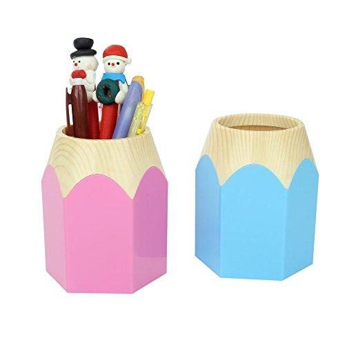 【2色セット】 パステル カラー ペンシル 鉛筆 型 ペン 立て 水色 & ピンク 文房具 スッキリ 収納 整理 整頓 クマ 消しゴム 付