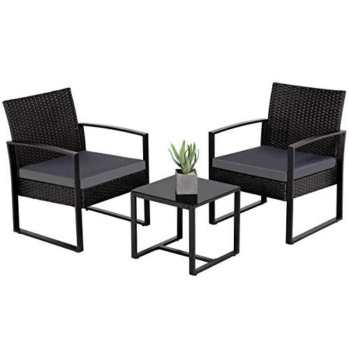 Yaheetech Conjunto de Sillas y Mesa Exterior Silla Ratán Impermeable Juego de Muebles de Jardín con Cojines para Terraza Balcón Negra