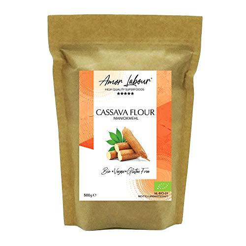 Amor Labour ® | Premium BIO Maniokmehl | Ohne Zusatzstoffe | 100% reines Cassava Flour | Paleo - Vegan - Low-Carb | Glutenfreies Mehl | 500g