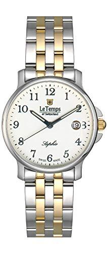 Le Temps of Switzerland - Reloj de mujer de cuarzo, analógico, bicolor, correa de metal - 405003