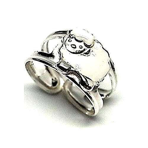 925m argento anello regolabile legge smaltato ovejita [AB0700]
