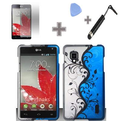 Rubberized Blue Black Silver Vine Flower Snap on Design Case Hard Case Skin Cover Faceplate with Screen Protector, Case Opener and Stylus Pen for LG Optimus G / Eclipse 4G LTE LS970 - Sprint