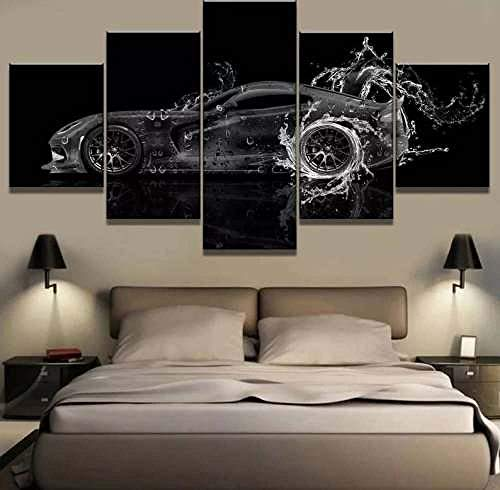 COCOCI 5 Piezas De Lienzo Black and White Sports Car Lienzos Decorativos XXL Cuadros Modernos Baratos Cuadros para Pasillo Cuadros Decorativos Cuadros para Dormitorios Modernos