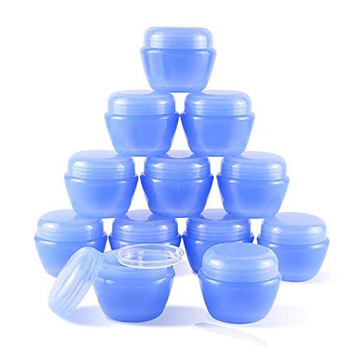 12 Unidades de 50 ml (1.7 oz) de Mini frascos de plástico con Tapas y revestimientos internos Recipientes de loción vacíos Recipientes de Crema de Viaje (Azul)