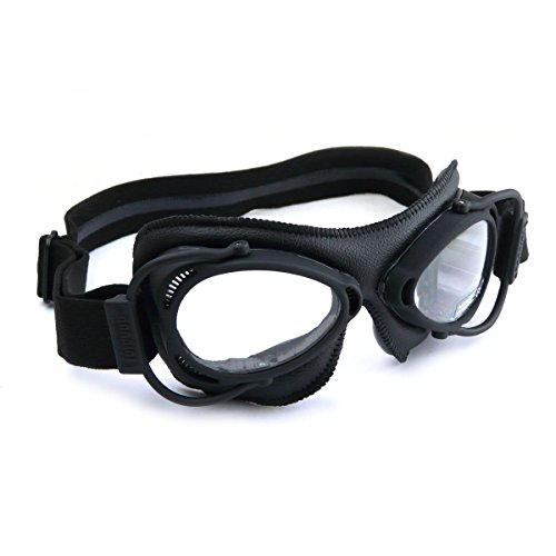 HDM Nannini Streetfighter italiano moto occhiali con montatura nera opaca e una pelle nera Facemask