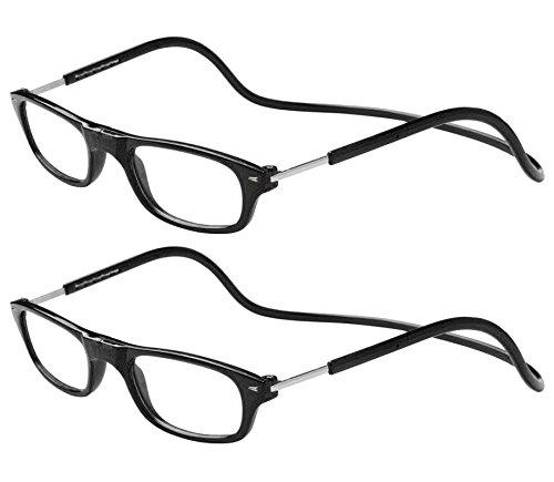 TBOC Pack: Occhiali da Vista Lettura Presbiopia - (Due Unità) Graduati +2.00 Diottrie Montatura Nera Regolabili Pieghevoli Chiusura Clip Magnetici Vicino Donna Uomo Appendere Collo