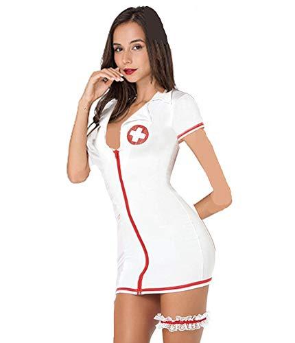 Mujeres Enfermera Conjunto De Lencería Tentación Babydoll Disfraces de Enfermera Uniforme Atractiva Tentacion Camisetas Vestido Sexy Ropa de Dormir Lencería Cosplay Ropa de Dormir