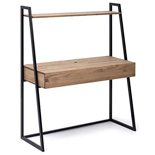 Escritorio 1 cajón Negro en Madera Efecto Vintage Estilo Industrial Box Furniture