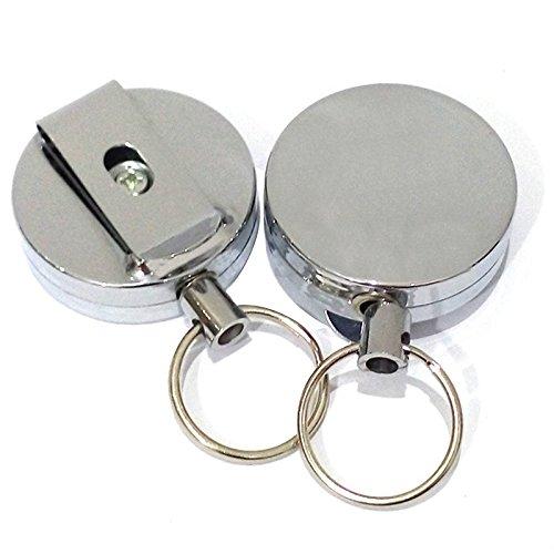 TOOGOO 2 Pcs Mouche Pêche Rétractable Zinger Enrouleur Cordon Rétracteur en Acier Inoxydable Clip Outil