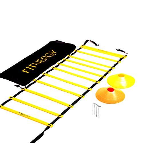 F1TNERGY Leiter für Geschwindigkeits und Agilitätstraining Gelb Leiter mit 12 Sprossen inklusive Tragetasche + 10 Geschwindigkeitskegel + 4 Heringe D-Ringe Fußball-Training Fußballausrüstung (Yellow)