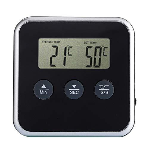 Lectura instantánea termómetro digital temporizador de cocina barbacoa del termómetro de carne con alerta de distancia de la sonda Medidor de temperatura del horno (Color : Black)