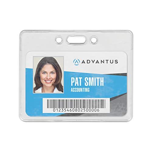 "ADVANTUS Proximity Badge Holder, Horizontal, 3-3/8 x 2-3/8"" Insert Size, Clear, Pack of 50 (75450)"