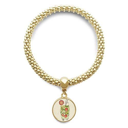 DIYthinker Damen Erdbeere-Frucht-Saft Illustration Muster Goldene Armband Laufende Anhänger Schmuck-Kette
