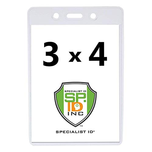2 Pack - Vaccine Card Protector 3X4 Vertical - Heavy Duty Clear Plastic Immunization Record Holder for Travel - 3 X 4 Portrait Badge Sleeve Cover for Large Name Tag or Conference I'd by Specialist ID