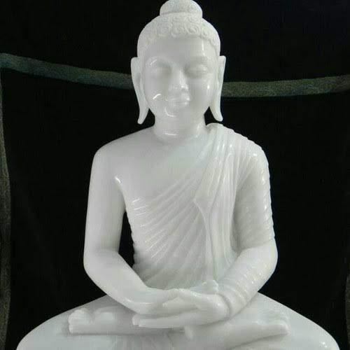 White Marble Buddha Statue Beautiful Marble Finish (18 inch)