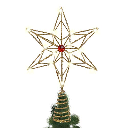 Valery Madelyn Stella Albero Puntales, 34cm Pre-Lit Luxury Red And Gold Metal Star con 10 Luci LED Calde, a Batteria (Non Inclusa)