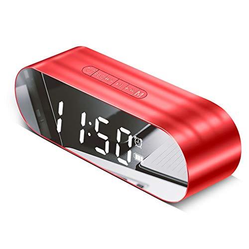 ZTKBG Led-wekker met FM-radio, draadloze bluetooth-luidspreker, spiegel, USB, oplaadbaar, muziekspeler