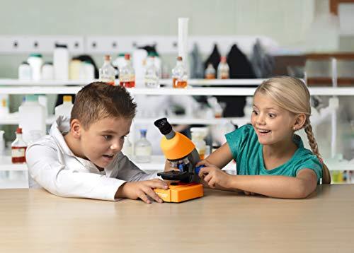 Bresser Junior Mikroskop 40x-640x mit LED-Durchlichtbeleuchtung mit Batteriebetrieb für Kinder und Einsteiger, orange