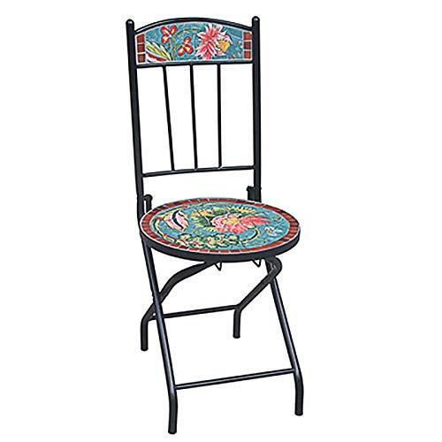 HZWZ Mosaikrunde Akzentabelle, 27,5'Beistelltisch Mit 2 Stühlen, Pflanzenständer Dekor Für Patio-Veranda, 3-Teiliges Bistro-Set, Falttattel-Möbel Für Hinterhof, Couchtisch,1 Chair