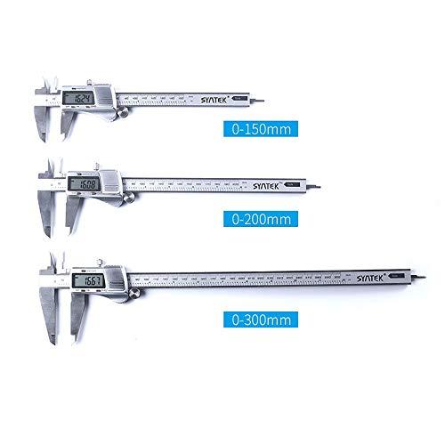 Calibres Pantalla electrónica Digitales Pie de Rey 0-150/200 Medición / 300 mm de Acero Inoxidable de Alta precisión (Color : Silver, Size : 300MM)