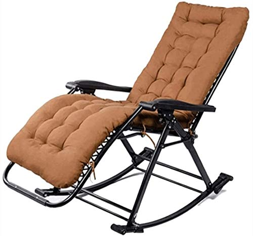 PULLEY Silla mecedora plegable para balcón, silla mecedora para adultos, silla plegable portátil, silla de ocio vieja con almohadilla de algodón grueso (color marrón