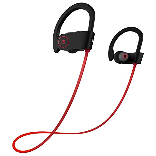 Bluetooth Headphones w/ Mic Wireless Noise Cancelling Earphones, Ezone IPX7 Waterproof HD Stereo Sweatproof Earbuds for Gym Running Workout 8 Hour Battery Headphones (Red)