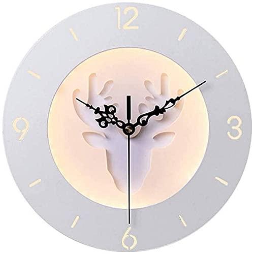 KDLAK Lámpara de pared del reloj del dormitorio, lámpara decorativa creativa, lámpara de pared de los faros de los ciervos de la habitación de los niños, apliques de pared creativos del fondo de la T