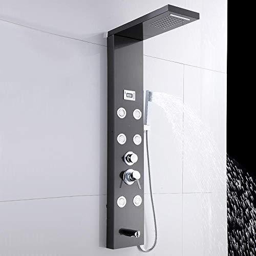 Edelstahl Duschpaneel, Duschsysteme mit LCD-Anzeige, Schwarz Duschpaneel mit Thermostat und 6 Wassermodi, 3/8 Zoll