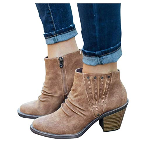 Ankle Boots for Women with Heel,Women's Wedges Ankle Booties Retro V Cutout Comfy Short Boots Flock Leather Zip Closure Stacked Chunky Block Heels Shoes