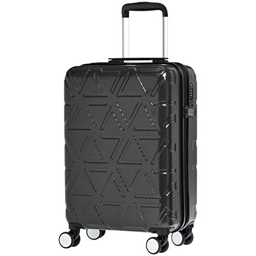 AmazonBasics Pyramid Hardside Carry-On Luggage Spinner Suitcase with TSA Lock - 22 Inch, Black
