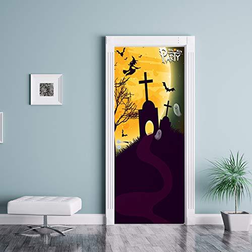 Zkamang Hexe Friedhof Tür Aufkleber, Halloween Glas Fenster Aufkleber, kreative Partei Holz Tür Renovierung Wandaufkleber