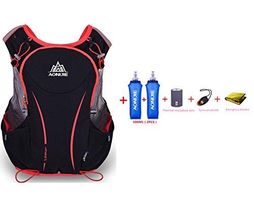 AONIJIE 5L Mochila de nailon impermeable, para maratón, ciclismo, running chaleco, bolsa de deporte + 2 botellas de agua de 500 ml, L/XL
