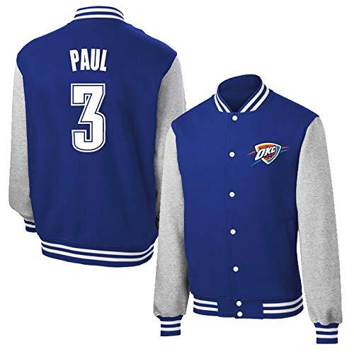 Chris Paul # 3 Camisa de la Chaqueta de béisbol, Oklahoma City Thunder Larga de los Hombres de Manga Baloncesto Plus Fleece Camiseta Caliente (Color : Blue, Size : XL)