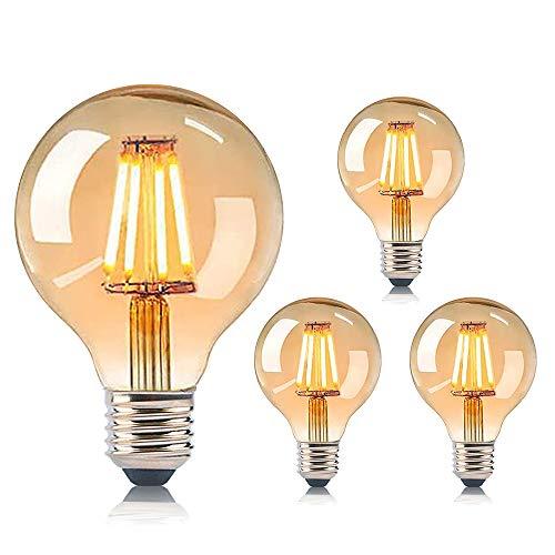 IVEOPPE [4 Paquetes] Bombilla Edison Vintage, Bombilla de Globo Retro, Filamento Espiral de Tornillo Regulable de Luz Cálida, Lámpara Decorativa 40W G80 E27 220V