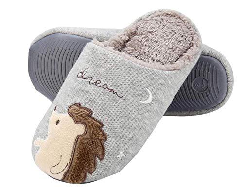 Plüsch Igel Hausschuhe,Fluffy Faux Fur Einhorn Animal Slippers,Slip on Memory Foam Warm Bequeme Hausschuhe,36-37,Gray