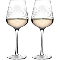 Juego de copas de vino de vidrio con relieve de diamante rosa amatista de 340 ml H16.5 x D8cm rosa