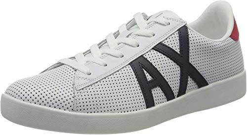Armani Exchange AX Logo Box Sole Sneakers, Zapatillas Hombre, Blanco (Opt White+Navy+Red M476), 41.5 EU