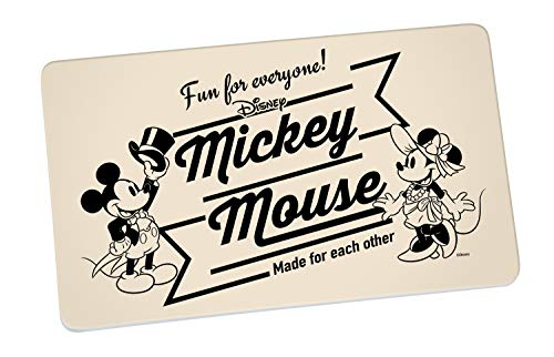 Disney Mickey Mouse 13758 Disney Mickey & Minnie Vintage FUN for Everyone Tabla para cortar pan, Desayuno de, tablas, tabla, tabla de cortar, melamina, Beige